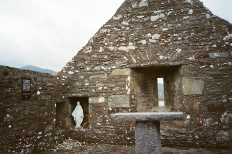 roofless church with Mary statue on Achill Island